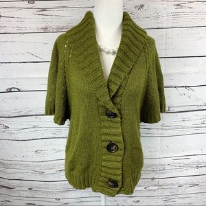 Old Navy Olive Short Sleeve Sweater Cardigan
